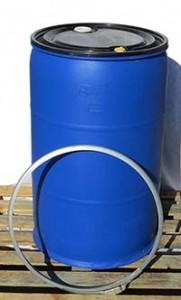 חבית פלסטיק 200 ליטר מכסה נפתח + פקקים